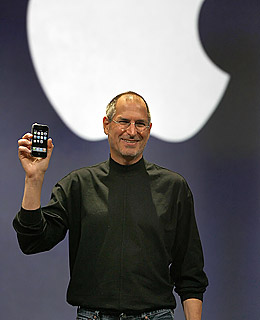 Steve Jobs introducing the iPhone at Macworld 2007.