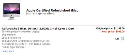 iMac refurb models at a delicious price.